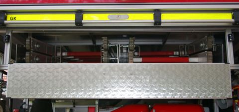 TSF-W, Fahrzeugrückseite - Steckleiter